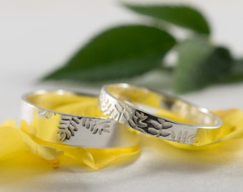 White Gold Ash Wedding Bands: A Set of his and hers 9k White Gold wedding rings