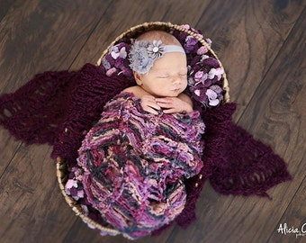 Baby Blankets Set, Purple Pink Grey Set of Newborn Baby Girls Prop Blankets for Photography Prop Photo Prop