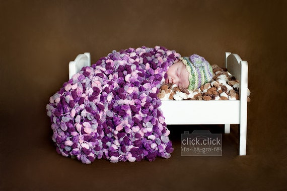 """Prop Blanket for Babies Purples, Pinks """"Plum Mixed Up"""" PomPom PuffPelt by Crickets Meyeres"""