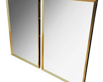 Large Brass-Framed Mirror - 2 Available
