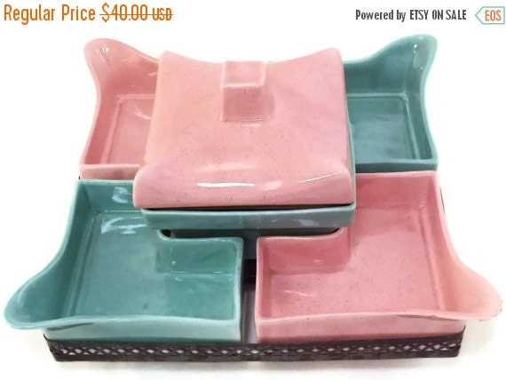 MOVING SALE Price Drop! Vintage California Pottery Pink and Aqua Revolving Chip N Dip