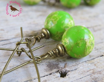 Lime Green Earrings, Lime Turquoise Dangle Earrings, Bright Lime Drop Earrings, Vintage Brass, Lime Jasper, by MagpieMadness for Etsy