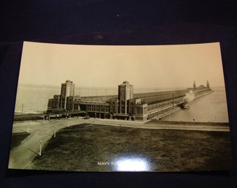 1930's Black and White Photo Postcard Navy Pier Chicago