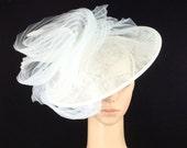 White Wedding Hat Head Piece Kentucky Derby Hat White Bridal Coctail Hat Couture Fascinator Bridal Hat