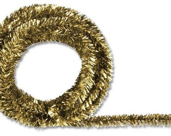 Gold  Metallic Tinsel Roping XG447808, Mesh Supplies, Poly Mesh Supplies, Mesh Ribbon (25 FEET)