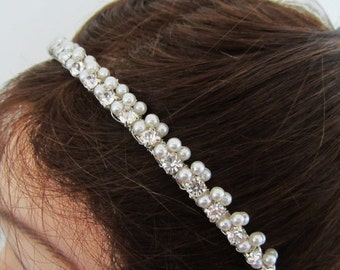 ON SALE Pearl Bridal Headband with Rhinestones in White or Ivory---Alexis