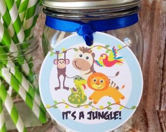 jungle birthday tags, jungle party hang tags, custom jungle animal party tags, custom boy birthday hang tags--set of 12