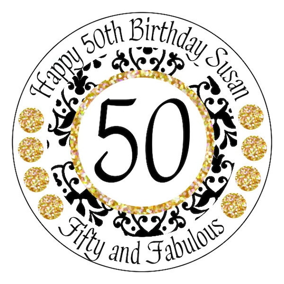 Gold 50th Birthday Stickers Gold And Black 50 And Fabulous