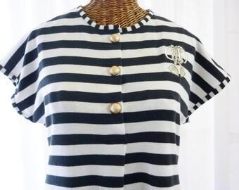 Christian Dior Saks Fifth Avenue Black White Stripe New Old Vintage Stock