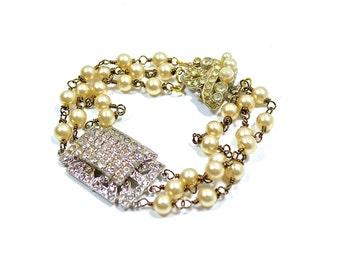 Multi Strand Pearl & Vintage Rhinestone Bracelet, Wedding Jewelry by Dabchick Vintage Gems
