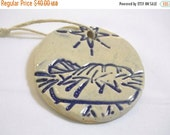 ON SALE 5 Ceramic Nativity Manger Christmas Ornament or Gift Tag