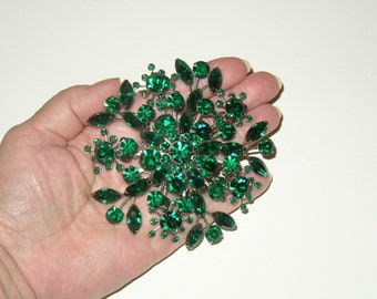 "HUGE 3.5"" Vintage Emerald Rhinestone Brooch & Earrings"