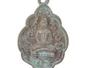 Brass-27x42x4mm Buddha-Old Patina-Thailand-Quantity 1