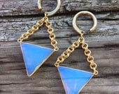 Opalite - Double Bail Triangle Dangles - Earrings for Stretched Lobes - Gauges