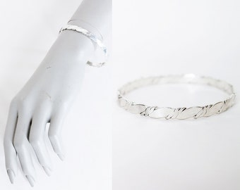 Vintage Sterling Bangle / Mexican Silver Handmade Twisted Bracelet