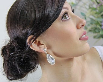 Old Hollywood glamour, teardrop bridal earring, rhinestone bridal earings, formal drop earings, costume jewellery. CAMERON Silver