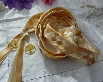 Ivory and gold 5 strand weave wedding cord-  with golden tree of lifecharms