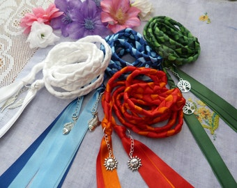 Set of 4 cords - honouring the elements Hand fasting cord- fire earth water air