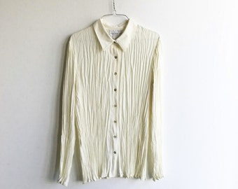 Vintage 90s White Accordion Blouse / 90s Crinkle Button Up Shirt / Women's Large
