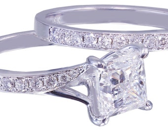 18k White Gold Princess Cut Diamond Engagement Ring And Band 2.10ct G-VS2 EGL US