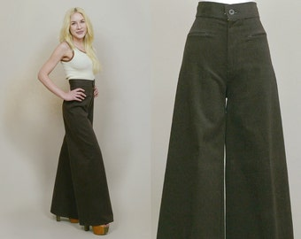Levis Bell Bottoms 70s Pants Brown Velvet Wide Leg Trousers Palazzo 1970s Hippie High Waisted Bohemian / Size XS Extra Small