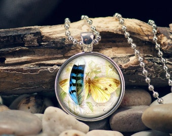 Butterfly Pendant, Butterfly Feather Pendant, Butterfly Necklace, Butterfly Feather Necklace, Dream Catcher Pendant