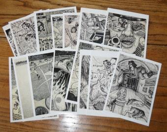 "POSTCARD Set by David Jablow 15 Doodle Pad Art Glossy 5x7"""