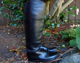 Vintage Black Leather Tall Equestrian Pirate Goth Colonial Style Riding Boots Womens 6.5