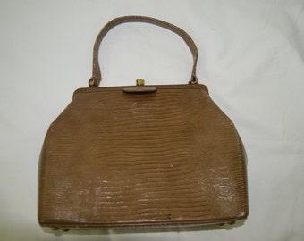 Vintage Brown Genuine Calf Skin Framed Handbag Purse Circa 1950's