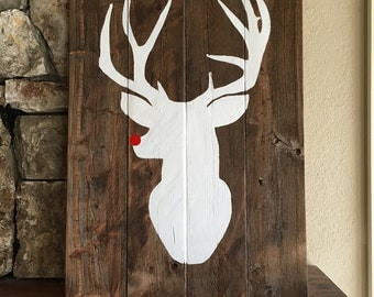 Rustic Reclaimed Wood Rudolph Sign, Rudolph Christmas Sign,  Red Nosed Reindeer Sign, Rudolph Red Nose Sign,Rudolph Art,Rudolph Wooden Sign,