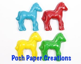 15 sets of 2 horse crayons in cello bag tied with ribbon
