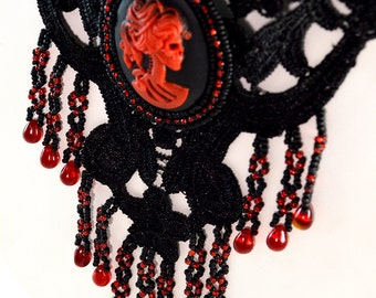 Gothic Cameo Necklace - Black and Red - Cameo Necklace - Free Earrings