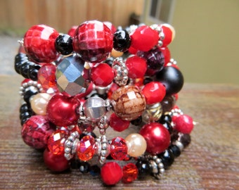Red Black and Silver Memory Wire Bracelet Coiled Wrap Bracelet Holiday Fun and Bold