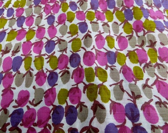 One Yard Fabric Abstract Olives or Plums Pinks and Green and Purple Cotton Linen Blend Fabric