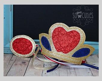 Snow white  Princess felt tiara / felt wand / felt embroidered / princess crown / princess headband / glitter crown