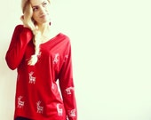 Red Silver Stag Hand Printed Top
