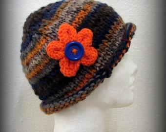 knit hat - hand knit hat - hat - blue knit hat - orange knit hat - knit flower - tan knit hat - funky knit hat - funky hat - acrylic knit