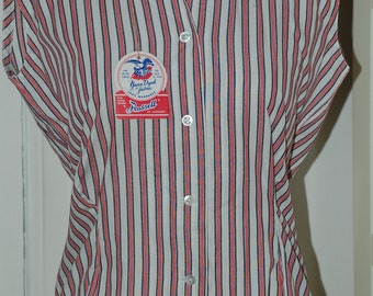 50s Blouse, NWT, Hourglass, Striped, Cotton, Sleeveless, Gabey, Top, Size M