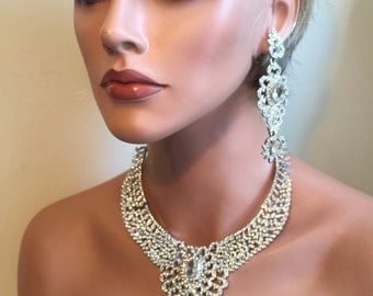 Bridal Necklace Set with Long Earrings dramatic rhinestone wedding jewelry set in silver elegant with long Backdrop