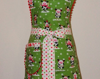 Apron Handmade Christmas Fanciful Cow Cotton Cooking/serving apron Size Lrg. Ready to ship