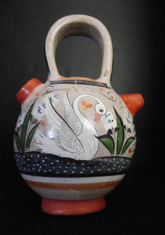 Mexican Pottery Double Sided Wedding Vase Water Jug Tonala
