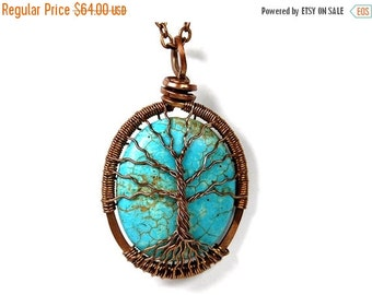 20% OFF Sale Spindly Roots and Branches Turquoise Tree of Life Necklace in Antique Copper.