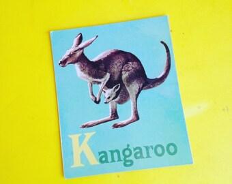 Vintage Animal Flash Cards kangaroo Alphabet -
