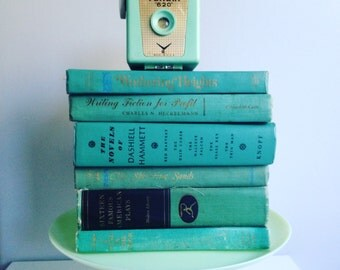 Reserved for DAVE Vintage Teal Books by the Foot Instant Library Decorative Book Stack  Books for Wedding, Bookshelves , Display Etc