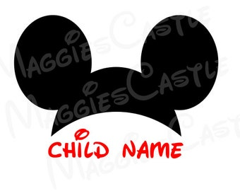 VINYL DecaL - DIY Iron On - Mickey Hat and Child Letters