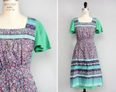 70s Prairie Dress S/M • Ditsy Floral Dress • Green Dress •  Boho Dress • Flutter Sleeve 70s Dress • Hippie Dress | D859