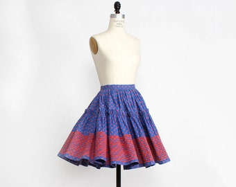 50s Circle Skirt • Ric Rac Trim Skirt S • Blue Tiered Skirt • Full Mini Skirt • Square Dancing Skirt • Prairie Folk Skirt | SK281