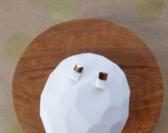 Half Gold Brick Porcelain Stud Earrings SALE