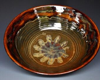 Dark Umber Ceramic Pottery Bowl Serving Bowl Salad Bowl AB