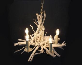 White Washed Driftwood chandelier,adjustable chain, Driftwood light Fitting, White 5 light chandelier, White Washed  Drift Wood Chandelier